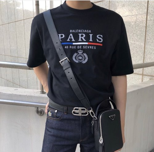 Paris Flag T shirt (Black&White)